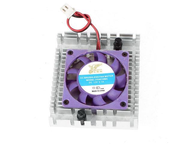 Silver Tone Purple 2 Pins Connector Computer VGA Cooler Cooling Fan Heatsink 12V