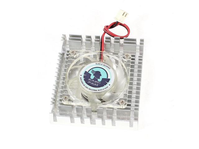 Silver Tone Clear 2 Pins Connector Computer VGA Cooler Cooling Fan Heatsink 12V