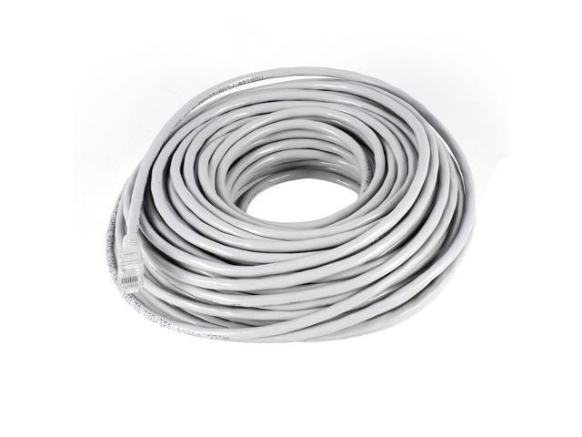 100 Feet RJ45 8P8C Male to Male Plug Copper CAT5E LAN Ethernet Network Cord Gray