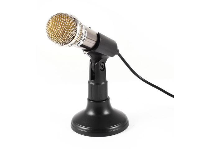 1.8M Cable 3.5mm Male Plug Jack KTV Karaoke Mini Microphone w Black Holder