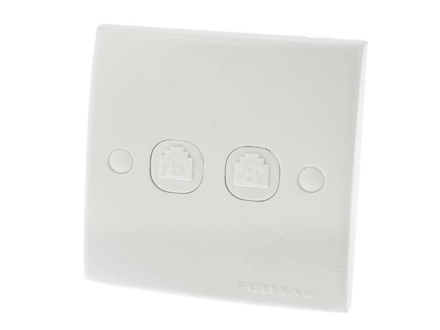 White Plastic RJ11 Telephone Phone 2 Ports Outlet Socket Wall Plate