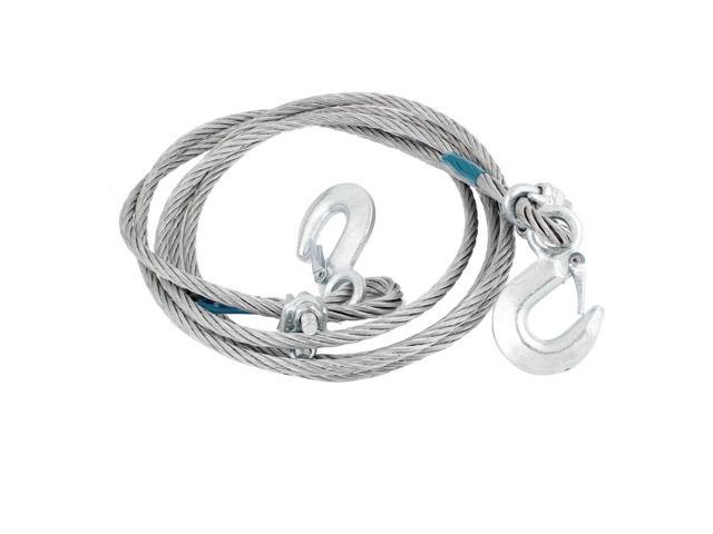 Silver Tone 5T 4 Meters Steel Wire Tow Rope Strap w 2 Hooks for Car Van Auto