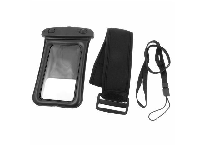 Black Plastic Water Resistant Bag Pouch w Armband for iPhone 4 4G 4S Lfmrz