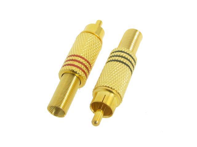 2 Pcs Gold Tone Metal Spring RCA Plug Audio Connectors Adapters