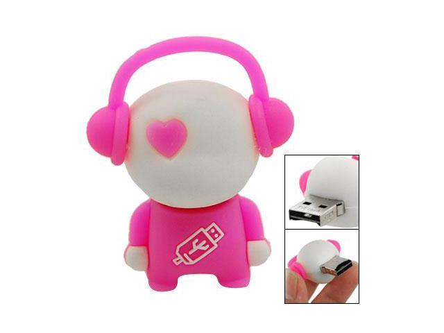 Cartoon Robot Micro SD TF USB Card Reader White Pink