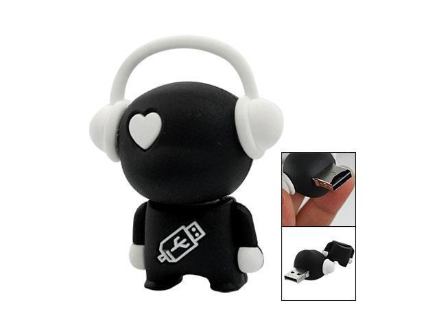 Black White Cartoon Robot Body Micro SD TF Card Reader