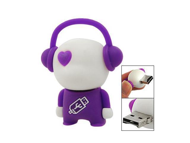 Purple White Robot Rubber Shell Micro SD TF Card Reader