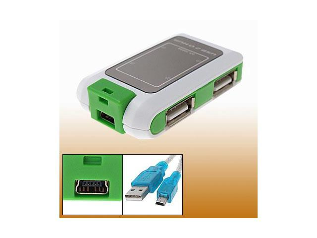 Notebook Computer USB 2.0 Mini 4 Port Hub White Green