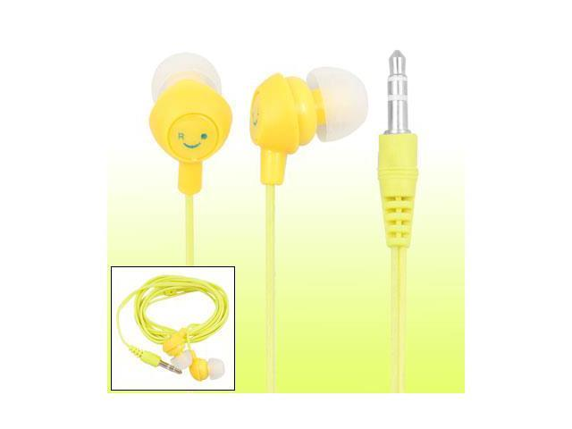 Smiling Face Yellow 3.5mm Mp4 Mp3 PC In-ear Earphone