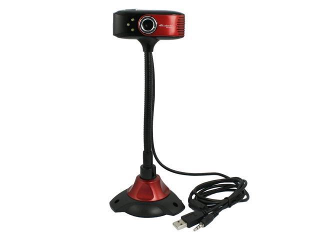 PC Flexible Neck 3.5mm Plug Mic USB 2.0 Photograph Webcam Black Red
