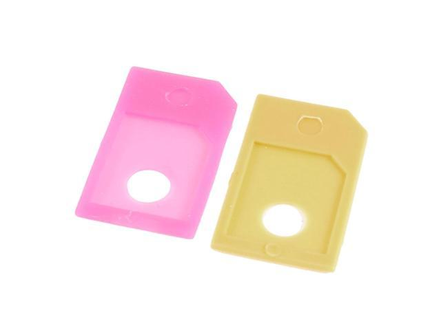 2 Pieces Fuchsia Yellow SIM Micro to Standard Adapter for Apple iPhone 4 4S 4GS