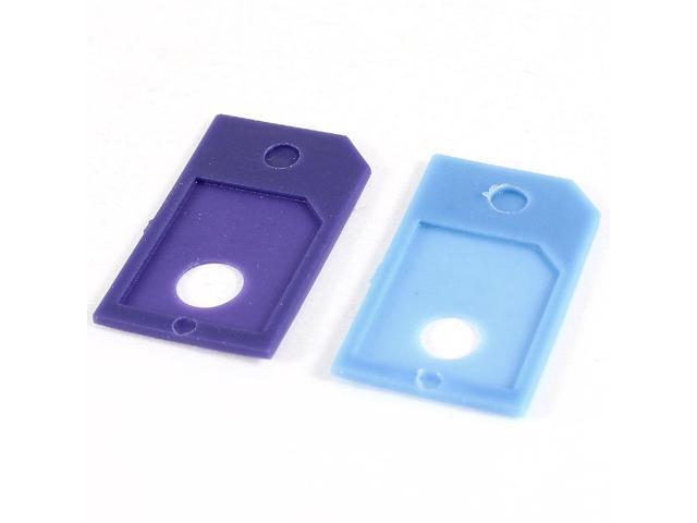 2 Pcs Light Blue Purple Micro SIM to Standard SIM Adapter for iPhone 4 4G 4S 4GS