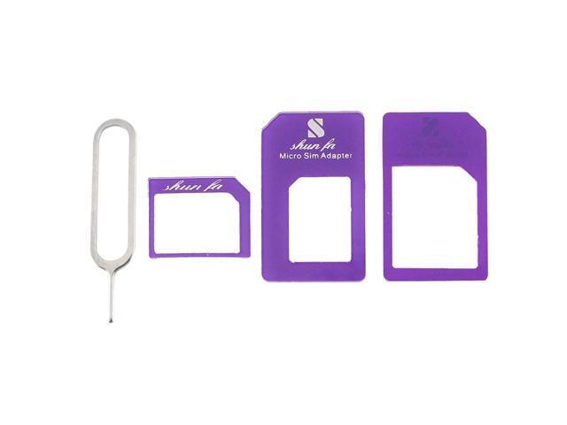 4in1 Nano/Micro SIM to Standard SIM Card Adapter Purple for Apple iPhone 4 4S 5G