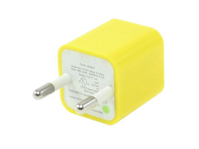 EU Plug 100-240V AC to USB 2.0 Port Charger Adapter Yellow for Smartphone