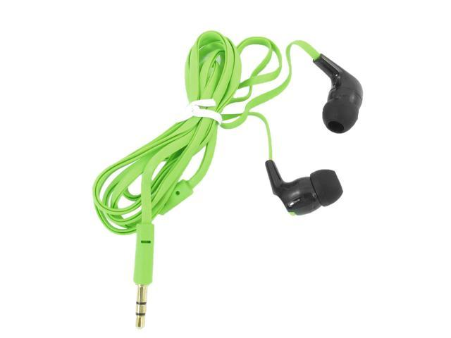 3.5mm Plug 1.2M Soft Flat Cable Earphone Headphone Green for Smartphone Mp3