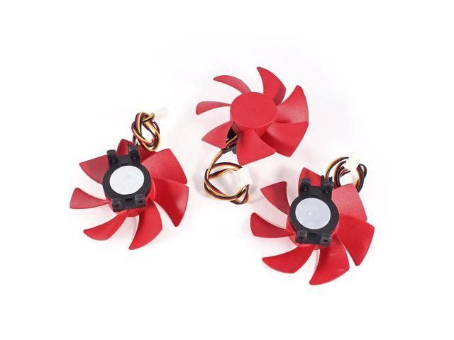 85mm x 30mm 3P PC Computer VGA Cooling Cooler Fan Red 3 Pcs