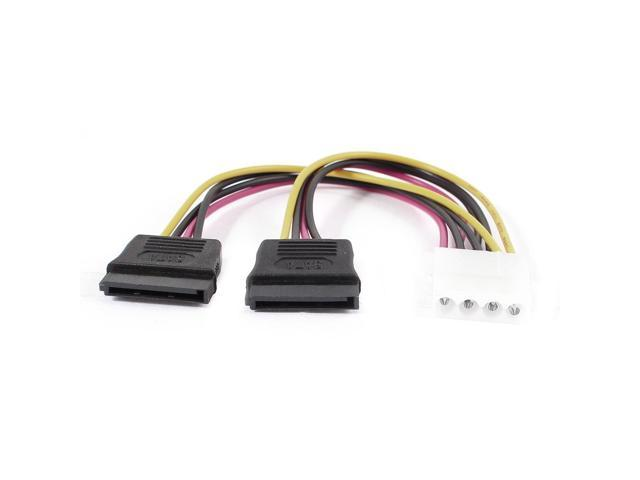 SATA Hard Drive IDE 4Pin to Dual 15Pin Female Y Splitter Power Cable