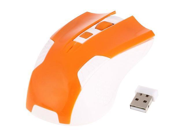 Orange White Plastic 2.4G Wireless 800DPI Optical Mouse w USB Receiver