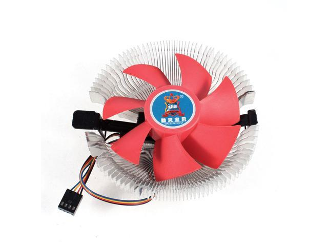 Red Plastic 7 Blades Silver Tone Aluminum CPU Cooling Fan Heatsink for Intel AMD