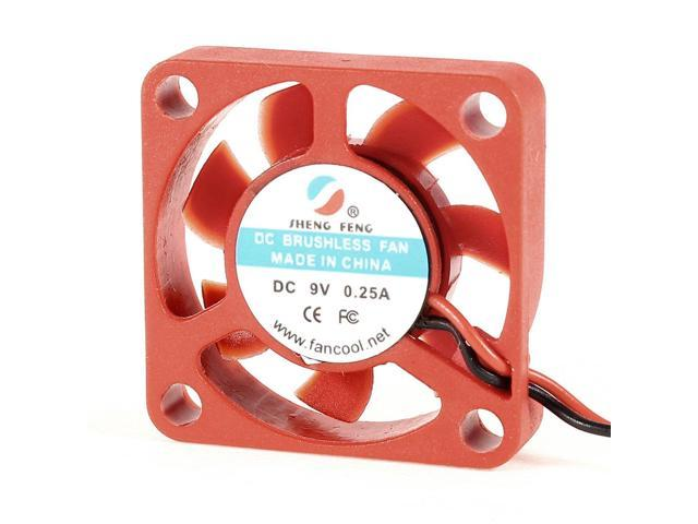 30mm DC 9V Red Plastic Brushless Wired Cooling Fan Cooler for Computer