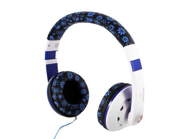 PC Computer Black Blue Adjustable Headband Single Bow 3.5mm Plug Headphone