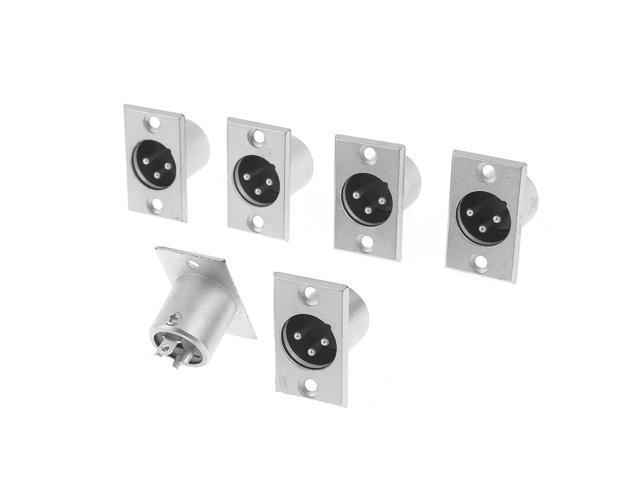 6 Pcs Silver Tone Metal XLR 3 Pin Male Plug Audio Adapter Connectors