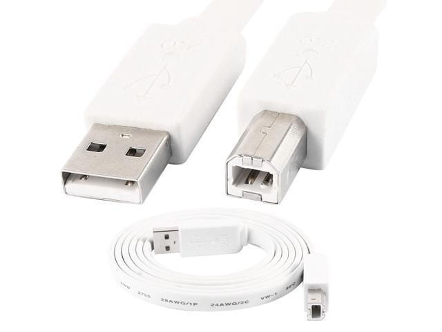 5ft 1.5 Meters USB 2.0 A Male to B Male Printer Scanner Cable Flat Cord White