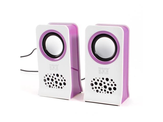 White Purple MP4 PC Computer Volume Control USB 2.0 Desktop Mini Speaker Pair