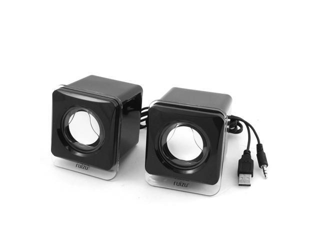 Pair Black Plastic 3.5mm Stereo USB Dynamic Sound Multimedia Speaker