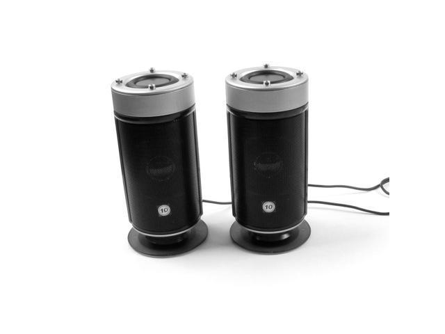USB DC 5V Hi-Sound Multimedia Computer Laptop Speakers Black Silver Tone