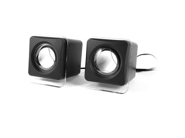 Pair Black Plastic 3.5mm Stereo USB Dynamic Sound Mini Multimedia Cube Speaker
