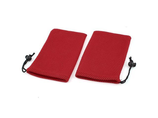 2 Pieces Red Mp3 Mp4 Cell Phone Mobilephone Mesh Pouch Bags