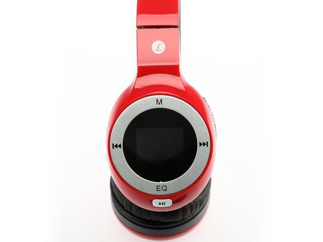 Universal Lightweight 3.5mm Foldable LCD Hi-Fi Stereo Headphones Headset Sports Player FM TF (Red)