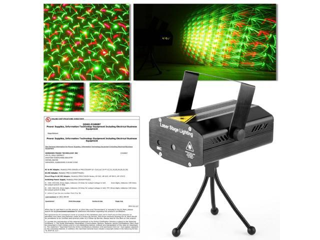 GBB Mini Portable Voice-activated Mixed Green & Red Stage Lighting Projector Ideal for Disco DJ Bar Club UL Certificated ( Black with Tripod )