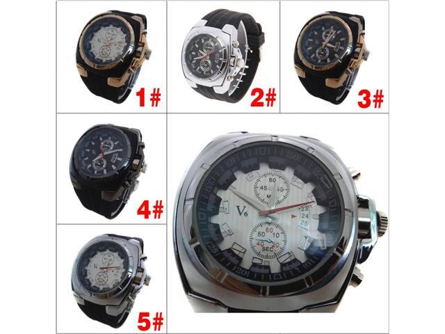 Black business watches silicone strap quartz watches - v6 0048