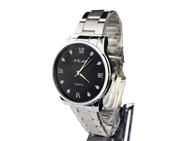 Metal strip contracted and generous fashion watches Male and female black