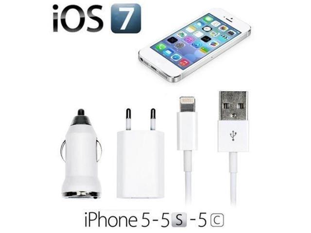 Carsaccessories 8Pin Data Sync Cables + EU USB Wall + Car Auto Chargers for iPhone 5s 5 5c (Color White)