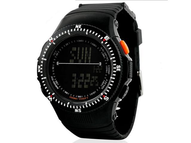 0989 Men's Military Wristwatch 5ATM Water Resistant Digital Sports Watch with Soft Plastic Strap (Black)