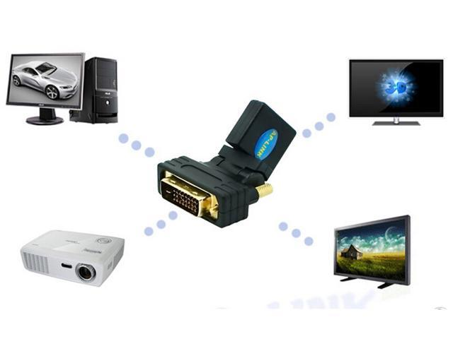 HDMI graphics card dedicated mother -DVI24 + 1 male adapter 180 degrees rotating 360 degrees elbow adapter