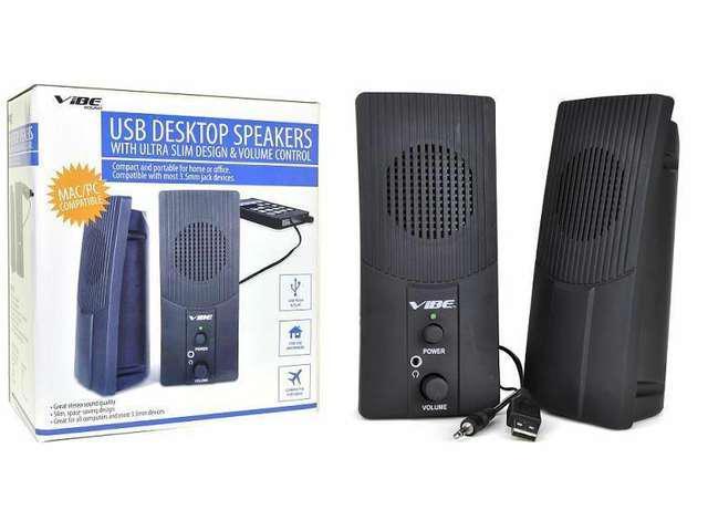 VIBE Ultra Slim 2-Piece 2-Channel USB Powered Multimedia Speaker Set w/3.5mm