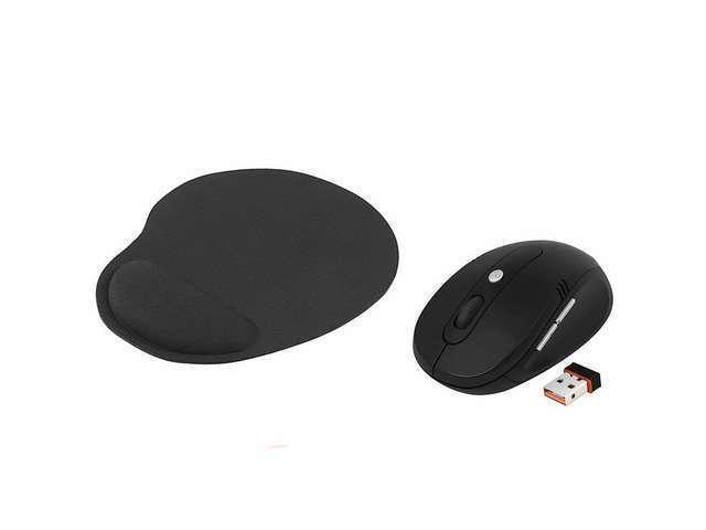New Black Wrist Comfort Mouse Pad MousePad+2.4G Cordless Wireless Optical Mouse