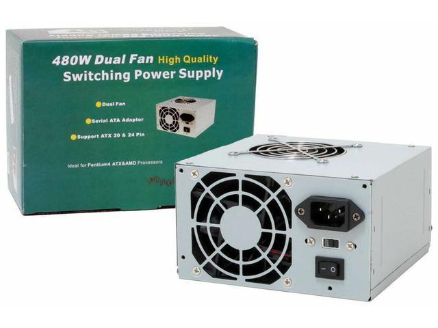 HOT Logisys PS480D2 480W Dual Fans ATX PC Computer Power Supply