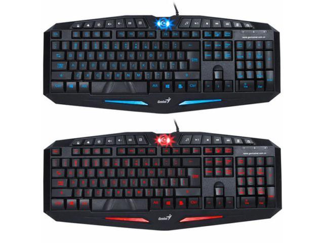 BLUE LED Backlight Illuminated Ergonomic Gaming USB Wired Keyboard Laptop PC