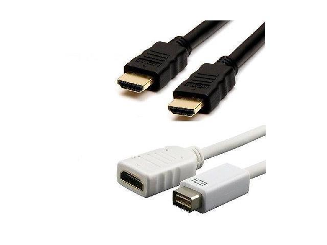 New 6 FT HDMI Cord + 1080p Mini DVI to HDMI Cable Adapter for Apple Macbook Pro iMac