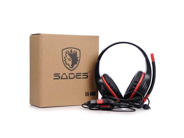 New SADES SA-809 Head band Wired PC Gaming Stereo Headphone Headset With Microphone