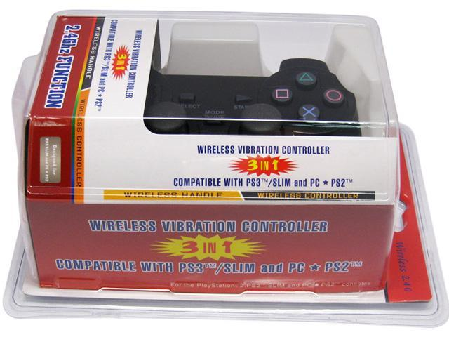 3-in-1 Double Vibration Wireless Game Handle Controller for Sony PS3 Black