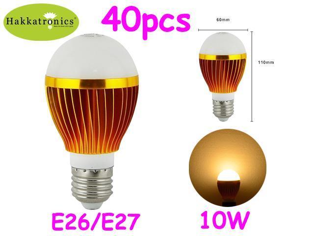 40X Hakkatronics 10 Watts LED bulb lamp light A19 E27 Warm White AC120V No dimmable 60 Watts replacement