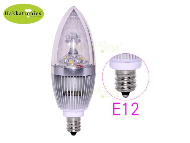 6X No Dimmable E12 3X1W LED Candle Light Bulbs 3W Cool White 6000K Light 270LM 85-265V Silver Sharp Type