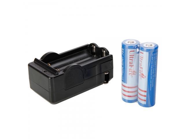 4.2V 600mAh Battery Charger with 2Pcs UItraFire 18650 3600mAh 3.7V Lithium Battery
