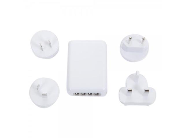 AC09 Universal US / UK / Euro / AU Travel Charger Adapter with 4 USB Ports White